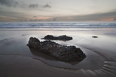 Rock Formation (Ray Bradshaw.) Tags: uk sunset sea england seascape colour english beach boys wet water rock horizontal landscape outdoors photography twilight sand day child dusk small wave late coastline raymond rough scenics bradshaw rockformation bedruthansteps extremeterrain southwestengland cornwallengland coastalfeature photograthy keywordssun