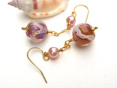 Charity (Beguiled By The Bead) Tags: pink brown vintage gold jewelry jewellery earrings lampwork isabelleanderson