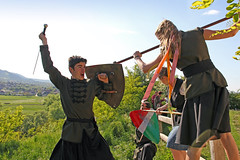 Baranta - close combat (Romeodesign) Tags: old tower castle wall fight hit hungary action spears traditional attack battle medieval assault armor scouts sword axe historical shield warriors raid fighters guards combat offensive stronghold fortress wham siege spear defend womans solymar 550d baranta