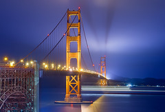 Golden (Casete) Tags: sanfrancisco california bridge blue usa night gold lights golden long exposure ship goldengate canon350d sausalito digitalrebelxt lighttrail tamron1750 shiptrail