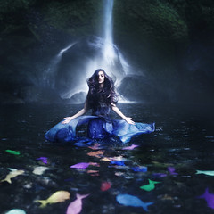 Where Dreams Collide (Rob Woodcox) Tags: blue fish pool girl beauty fashion rock oregon hair portland waterfall moss colorful dress magic surreal gorge dreamy flowing magical whimsical columbiarivergorge robwoodcox robwoodcoxphotography gailshamon