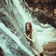 fall down. (stefanheider) Tags: wood woman white cold water girl beautiful canon bayern bavaria photography 50mm waterfall nice model perfect wasser wasserfall awesome 14 frau kalt wald mdchen weis schn stefanheider