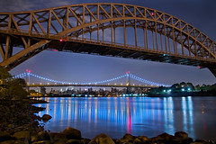 East River Bridge Reflections (SunnyDazzled) Tags: park longexposure railroad bridge blue newyork water night reflections river cityscape shine east astoria triboro hellgate triborough greatphotographers