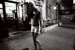 Dark night (Che-burashka) Tags: street bw girl night stripes odessa bn omd em5 urbanlyric panasonic14mmf25