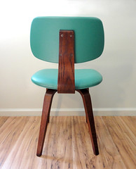 Mid Century Thonet Bentwood Oak Dining Chair Upholstered Teal (Circa Furniture) Tags: vintage furniture teal etsy midcenturymodern thonet upholstered mcm eamesera