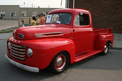 1950 Ford F1 Pickup (Erin Lynn's © Photography) Tags: auto show old red classic ford car truck river high f1 walls 2012