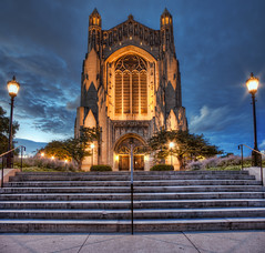 The Rock (Brian Koprowski) Tags: panorama chicago college church night campus evening illinois university cathedral pentax chapel panoramic bluehour universityofchicago hdr rockefellerchapel uofc pentaxk5 briankoprowski bkoprowski