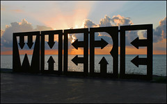 Wie: Wo ? (Prinz Wilbert) Tags: sunset sea art beach public strand georgia meer sonnenuntergang sundown steel raum kunst explore where wo blacksea stahl batumi georgien ffentlich explored schwarzesmeer stunningskies