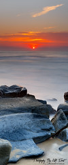 Merewether-Sunrise (Kiall Frost) Tags: ocean blue red panorama orange color beach water vertical sunrise nikon rocks pano australia panoramic nsw merewether d7000 kiallfrost