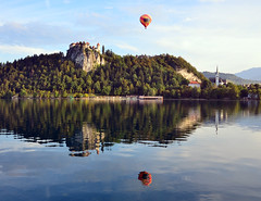 Balloon over Lake (SilvyP (on and off)) Tags: morning light church reflections balloon lakebled castlebled silvyp