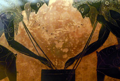 Exekias, Attic black figure amphora, detail with game