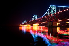 Sino-Korean Friendship Bridge (Stefan Schinning) Tags: china bridge reflection water night river nikon neon friendship north korea da reflexions yalu dandong sinuiju d90 top20bridges sinokorean bestcapturesaoi elitegalleryaoi