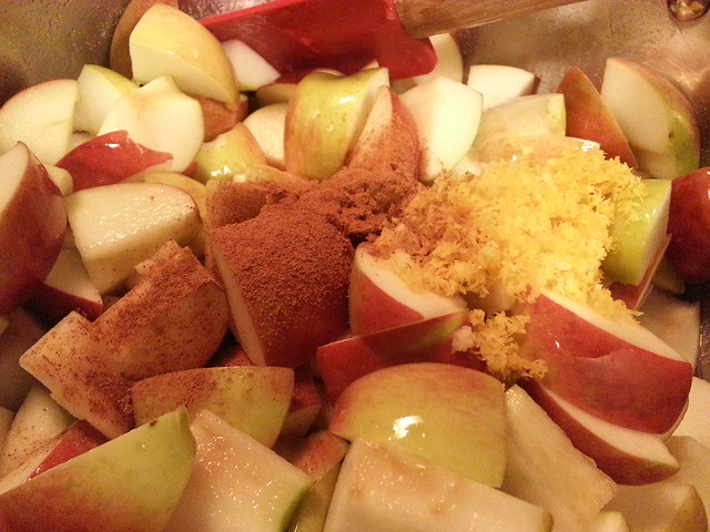 Apples with cinnamon, ginger, and lemon zest