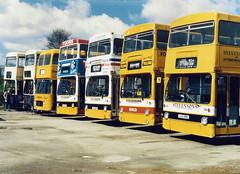 Six DMS Fleetlines 1987 (Walsall1955) Tags: bus buses lt fleetline spath stevensons londontransport daimlerfleetline stevensonsofuttoxeter aja421l stevensonsbusservices ouc47r ojd151r jgf241k jgf196kdms