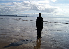 Another Place at Crosby Beach (chrisbell50000) Tags: shadow sculpture man reflection men beach water modern naked nude sand iron place bare anthony another sculptures pornographic gormley crosby merseyside undressed blundellsands chrisbellphotocom