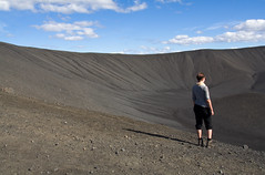 Crater of Hverfjall (ZeiR) Tags: blue summer sky woman nature look rock stone canon landscape grey volcano lava stand july reserve sigma crater rim hverfjall krafla mvatn northerniceland hverfjell tuffring tephracone