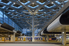 Den Haag - station Centraal, 26-08-2016 (Paul van Baarle) Tags: nederland nederlandsespoorwegen netherlands ns denhaag thehague gravenhage zuidholland holland station stationsgebouw stationskap stationshal roof hall emu treinstel slt siemens bluehour blauweuur architecture architectuur train treno zug railway dutch dutchrailways nikon eisenbahn ferrovia ferrocarril chemindefer bahnhof gare transport transportation travel wonderworld future