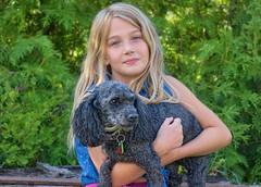 Cute Girl Cute Dog Cropped (jta1950) Tags: kid kids child children enfant portrait pet dog poodle caniche girl fille littlegirl younggirl person people nikon 8yearold