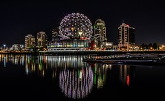Formerly EXPO '86 (Images by Christie  Happy Clicks for 2016!) Tags: scienceworld dome geodesicdome expo expo86 lights xenonlamp xenon worldsfaircentre nonprofit vancouver bc canada britishcolumbia nightphotography nightlighting lowlightphotography golfball telusworldofscience science cetre ball triangles omimaxtheatre theatre omimax night sky stars falsecreek nikon d5200