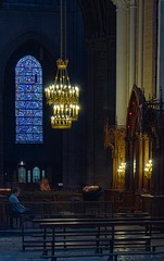A Quiet Moment (haberlea) Tags: chartres chartrescathedral statue architecture medieval gothic middleages stainedglass window light lamp church ambulatory cathedral darl quiet quietmoment prayer pray france
