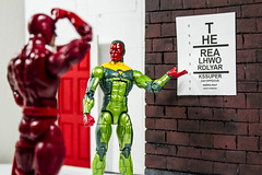 Out of Sight (Lyarks) Tags: funny vision daredevil mattmurdock humor marvel heroes legends action figures photography toy toys test jokes superhero super hero blind doctor office checkup thevision mcu lyarks will starks real h word realhword everyday superdayoff superday off