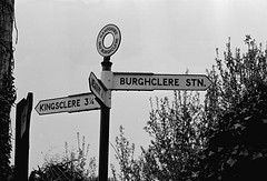 Burghclere station (13), 1980 (Blue-pelican-railway) Tags: hampshire burghclere railway station closed signpost