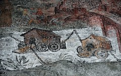 Water-mills as boat on river - detail of fresco 17th century - Saint Francis' monastery at Giffoni Valle Piana (Salerno/Italy) (Carlo Raso) Tags: mill boat giffonivallepiana salerno italy fresco