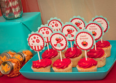 Elmo Birthday Cupcake Toppers (cupcakedreamingparties) Tags: elmo birthday cupcake toppers party sesame street decoration
