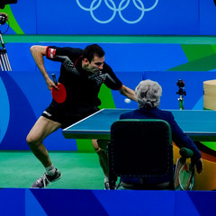 Let me show you the dance of my people (MastaBaba) Tags: 20160821 brazil brasil rio riodejaneiro olympics olympicgames summerolympics sports austria tabletennis table blue