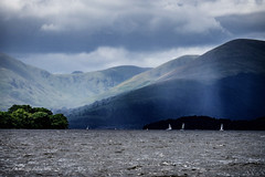 Sailing Loch Lomond (Jae at Wits End) Tags: water sky boat lake clouds nature mountain blue geological hill marine mountainside nautical pool reservoir rock vehicle waterway