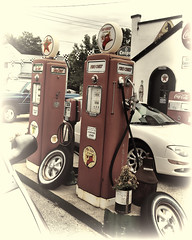 Pumpers (Pete Zarria) Tags: auto ford station sign wisconsin gas pump chevy oil service kaiser petrol texaco