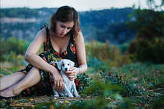 about the fact that dogs are the better humans (laura zalenga) Tags: woman dog mountain holiday tree green love nature girl grass puppy bush soft hand dress touch croatia laurazalenga