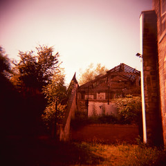 Outhouse (Saturated Imagery) Tags: pink red 120 square xpro crossprocessed saturated toycamera ruin slidefilm dianaf dereliction meanwood thetannery fujichromevelvia100