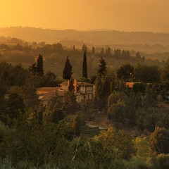 Sunset in the heart of Tuscany (B℮n) Tags: old city sunset red summer sky italy panorama orange sunlight house colour colors wall fairytale landscape high topf50 artist italia glow berries estate heart wine small hill inspired dry ground unesco hills vineyards valley tuscany grapes villa chianti vista strong layers cypress summertime wildflowers taste roads sangimignano middle product viewpoint topf100 ages fruity rubby vino tuscan cultivated hillsides harmonious 100faves 50faves provinceofsiena