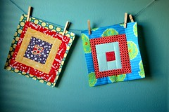 Drunk Love in a Log Cabin blocks (jaceycraft) Tags: red sewing logcabin bams quiltblocks drunkloveinalogcabin