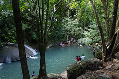 Swimming Erawan (Chrisseee) Tags: travel people forest swimming thailand rainforest asia waterfalls bond kanchanaburi erawannationalpark totallythailand tenasserimhills