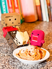 Pasta Night (37/52) (abneysc) Tags: food cheese toy toys pasta eat tiny domo spaghetti domokun grater danbo 52weeks danboard domoqee