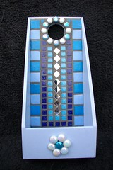 mosaic letter rack (fiona parkes) Tags: flowers glass mosaictiles mirrors mosaics tiles glassbeads vitreous glasstiles letterrack mirrortiles irridescentglass mosaicletterracksept2012