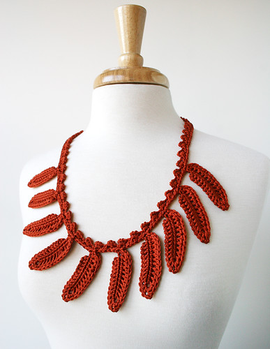 Fiber Jewelry - Silk Necklace, Crocheted