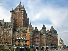 hotel frontenac, quebec city (Mr.  Mark) Tags: city building tower architecture french hotel photo quebec famous stock landmark steeple boardwalk frontenac markboucher