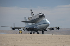 Endeavour Atop SCA Lands At Edwards (ED12-0316-07) (NASA HQ PHOTO) Tags: ca usa nasa edwards spaceshuttle flyover edwardsairforcebase ryandaily 747shuttlecarrieraircraftsca drydenflightresearchcenterendeavour