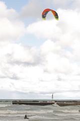 Windsurfing (Nancy A-T ~ obsessive gardener) Tags: autumn sky people lake kite ontario fall beach water weather clouds pier photo waves wind shoreline windsurfing nancyarmstrongt kincardineontariocanada