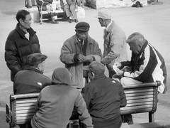 Playing Cards in Chinatown (shaire productions) Tags: sf sanfrancisco street city people urban playing game male men guy public asian cards photography photo chinatown cityscape image candid space lounge group lifestyle guys monotone photograph area pasttime imagery pastime