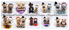 Bear Themed Wedding Cake Toppers (HeartshapedCreations) Tags: blue red orange brown white black cute bunny love animal yellow coral grey penguin groom glasses bride couple veil purple heart handmade gray fuchsia bowtie polarbear polymerclay lilac tuxedo tophat ladybug customized bouquet caketopper personalized keepsake