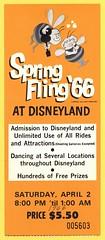 Spring Fling at Disneyland, April 2, 1966 (Tom Simpson) Tags: springfling vintage disney vintagedisney disneyland vintagedisneyland bee 1966 1960s ticket disneylandticket illustration
