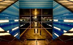 man in geometry. (HansEckart) Tags: colour station platform hafencity hamburg blickwinkel perspektive city town underground geometrie