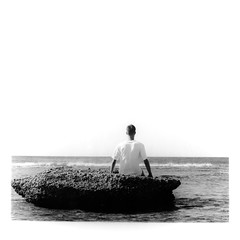 'Emptiness' (Salt.as) Tags: pentacon tl camera carl zeiss carlzeiss jena biometar 80mm lens ilford fp4 125 iso asa film 6x6 120 mediumformat black white bw mono monochrome negative print enlarger darkroom analog epson v600 scan scanner gelatin enlargement ilfosol photo paper mgiv glossy 19 sea rock rocks beach horizon minimal portrait portraiture guy person boy hands whitebackground crete greece photography summer 2016 wave sun contrast shirt figure six blackandwhite