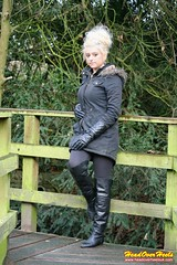 Chloe possing in leather boots & gloves (Street Boots & Leather) Tags: boots leather leathergloves smoking cigarette blonde