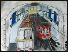 Metro de Madrid. Estacin Antn Martn (1987) (eldibu_transporte) Tags: metro madrid art subway 2000 panda anton martn catenaria clsico 500 tren train espaa
