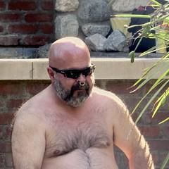 IMG_7875 (danimaniacs) Tags: party shirtless man guy sexy hot bear beard scruff hairy mansolo nose ring pierced bald